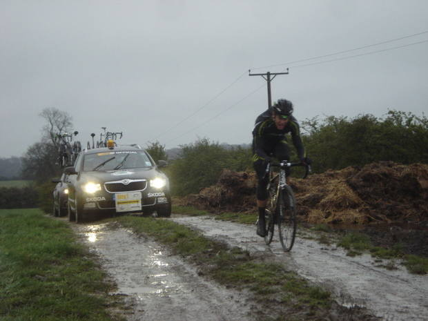 Alexander Blain (France) Endura Racing breasts 'Somerberg' for the second and final time on his way to  winning the 2012 CiCLE Classic held in the most atrocious conditions to be found for  any bike race in recent years.