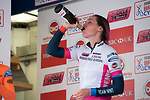 Race winner Katie Archibald (Team WNT) drinks champagne on the podium after the 105km Women's Cicle Classic at Melton Mowbray, Leicestershire, United Kingdom, on 4 June 2017.